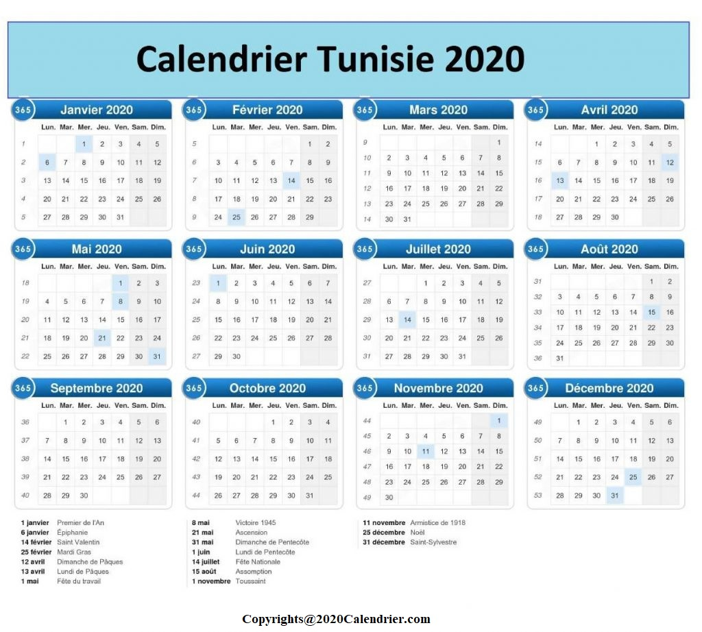 2020 Calendrier Tunisie Excel