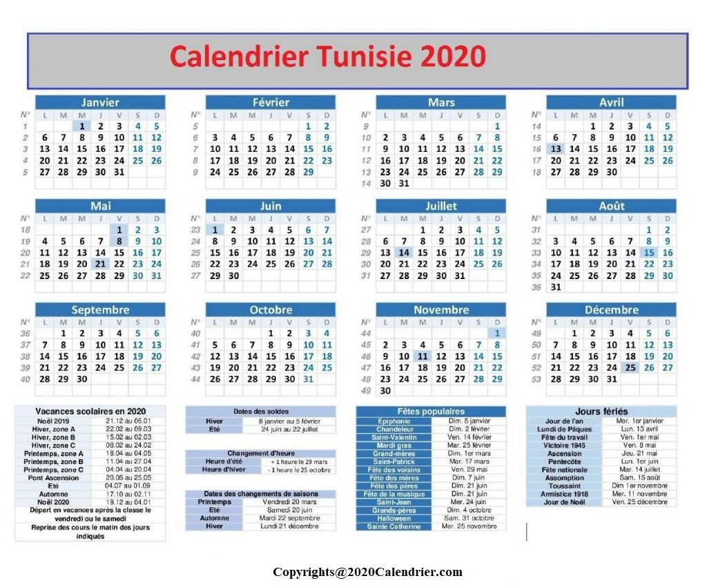 2020 Calendrier Tunisie Pdf