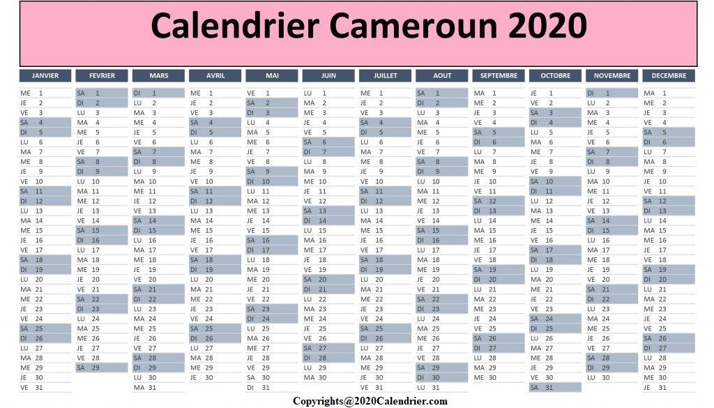 Calendrier Concours Cameroun 2020