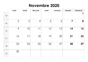 CalendrierNovembreMensuel 2020