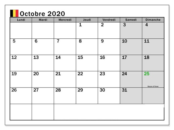 Calendrier OctobreMensuel 2020