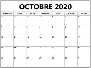 Calendrier OctobreVacances 2020