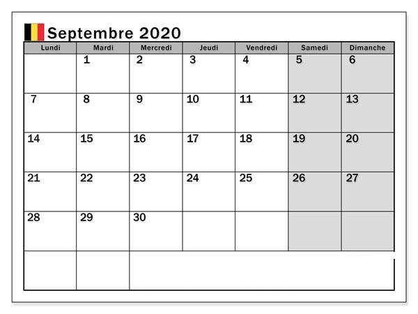 Calendrier SeptembreMensuel 2020