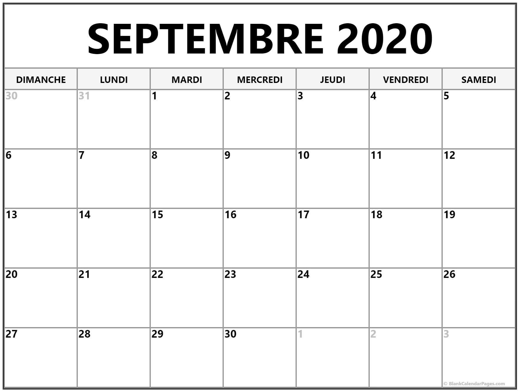2020 Calendrier Septembre Vacances