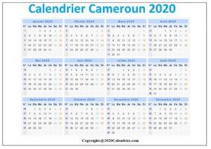 Calendrier Tcf Cameroun 2020