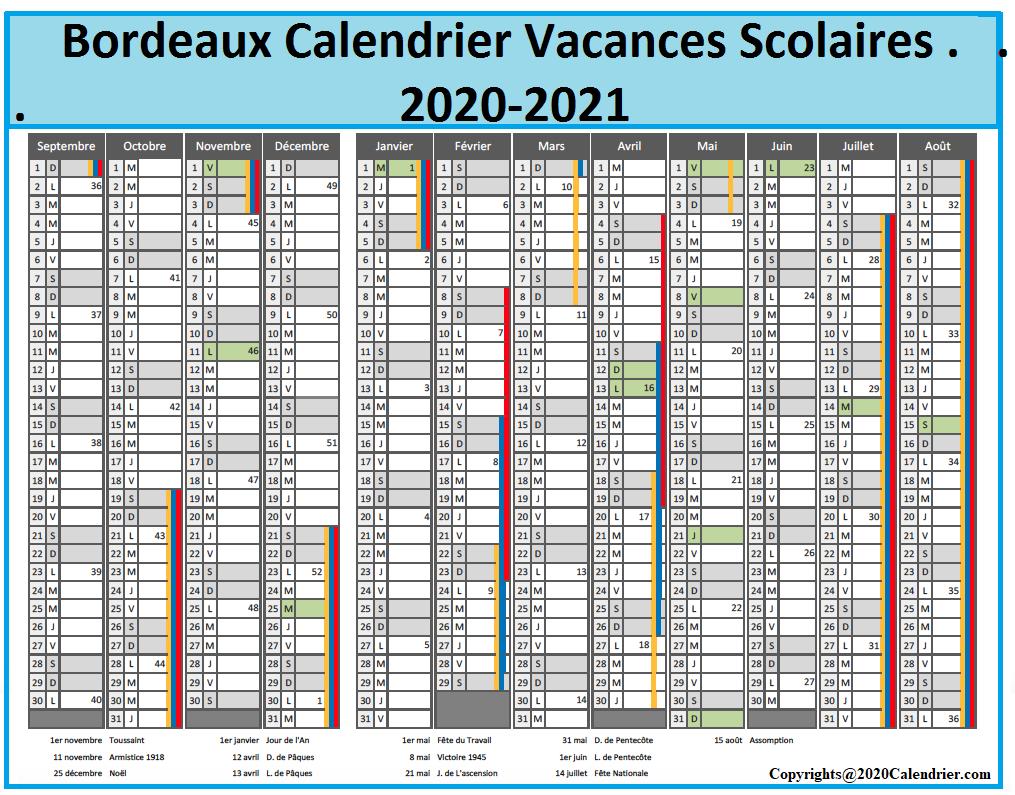 Calendrier Scolaire 2021 Bordeaux 2020 21 Bordeaux Calendrier Vacances Scolaires [PDF] | 2020 Calendrier