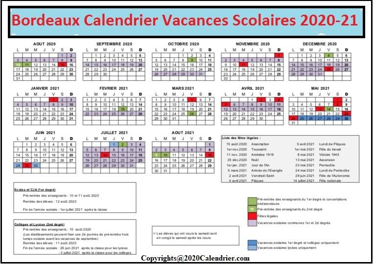 CalendrierVacancesScolaires2020-2021 ZoneBordeaux