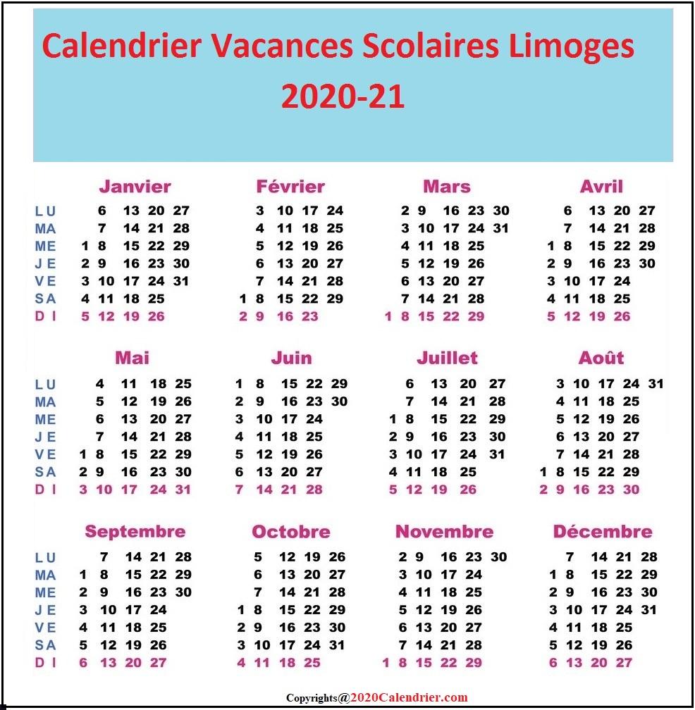 CalendrierVacancesScolaires2020 AcademieLimoges