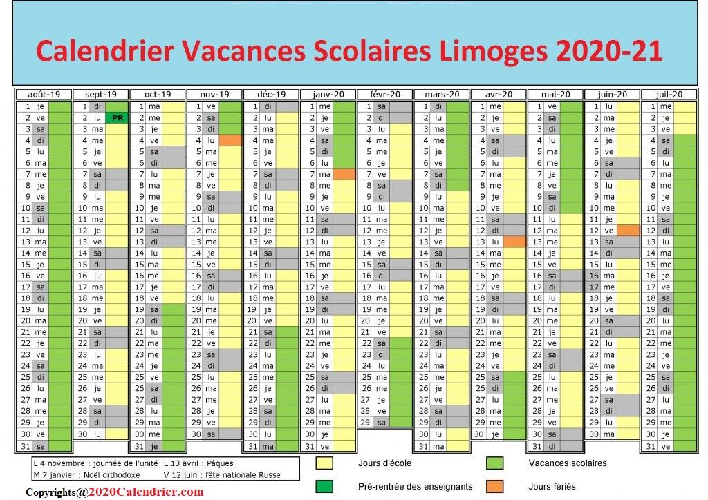 CalendrierVacancesScolaires2020Limoges