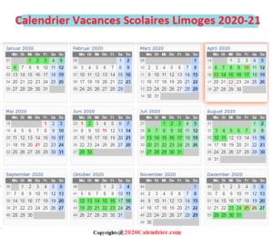 CalendrierVacancesScolaires2020 ZoneLimoges