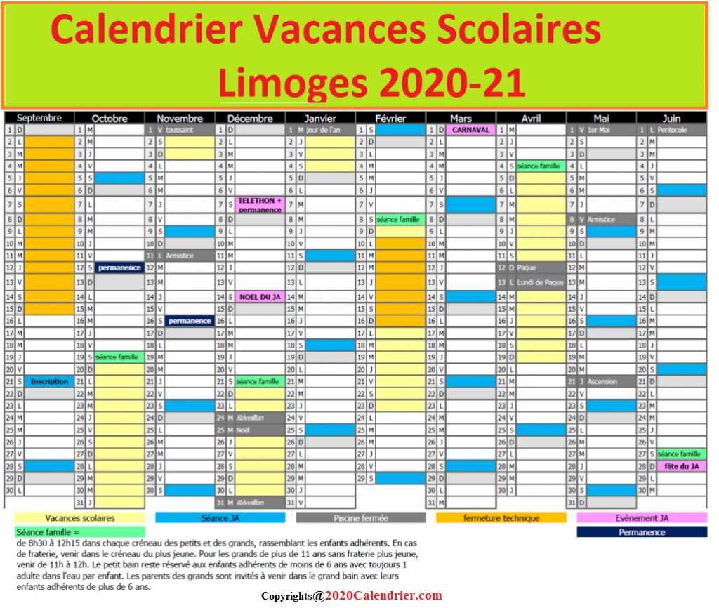 DatesCalendrierVacancesScolaires2020Limoges