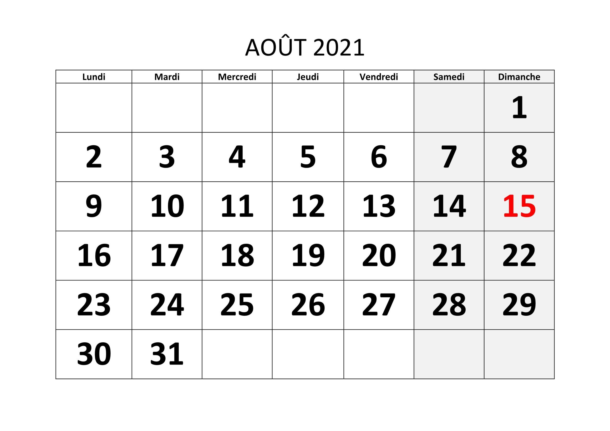 Calendrier 2021 Août