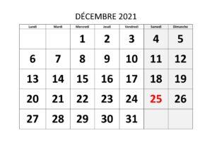 Calendrier 2021 Décembre
