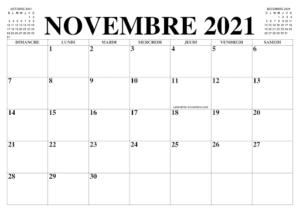 Calendrier 2021 Novembre