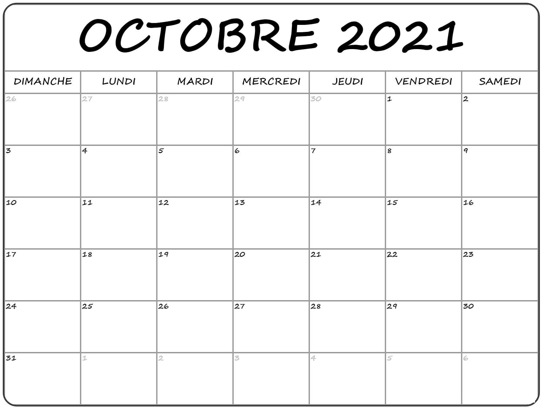Calendrier 2021 Octobre