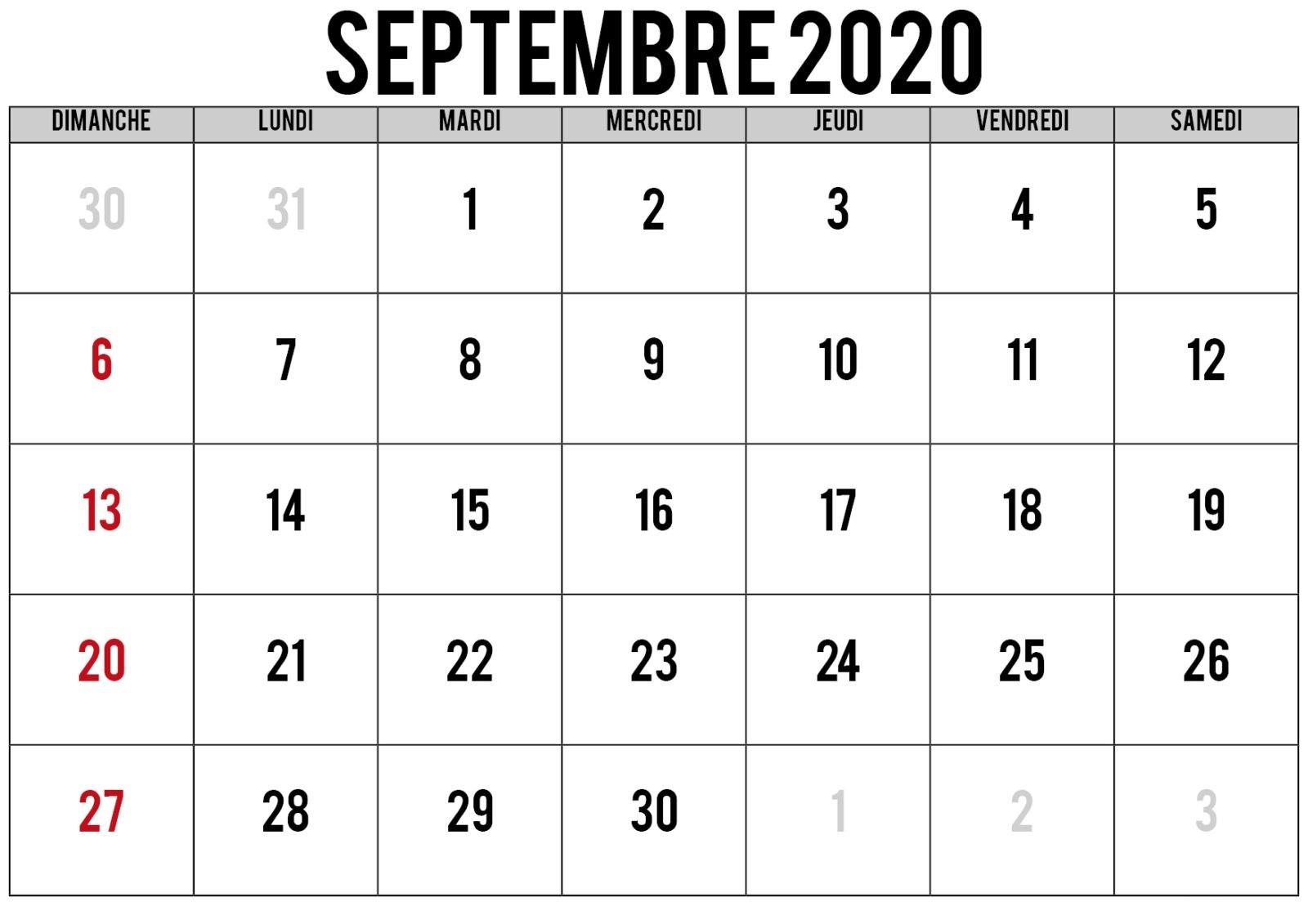 Calendrier 2021 Septembre