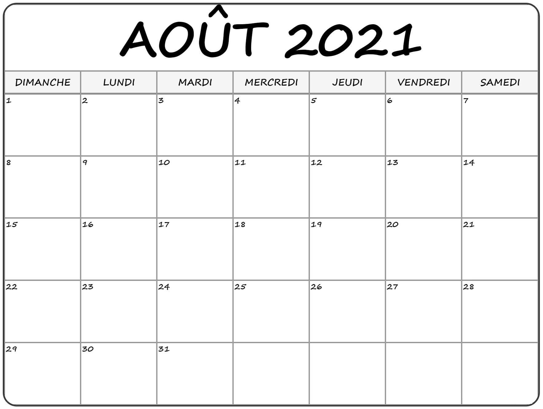 Calendrier Août 2021 PDF