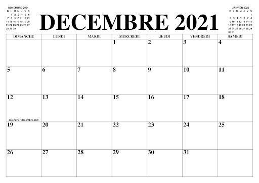 Calendrier Décembre 2021 Excel