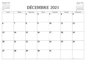 Calendrier Mois de Décembre 2021