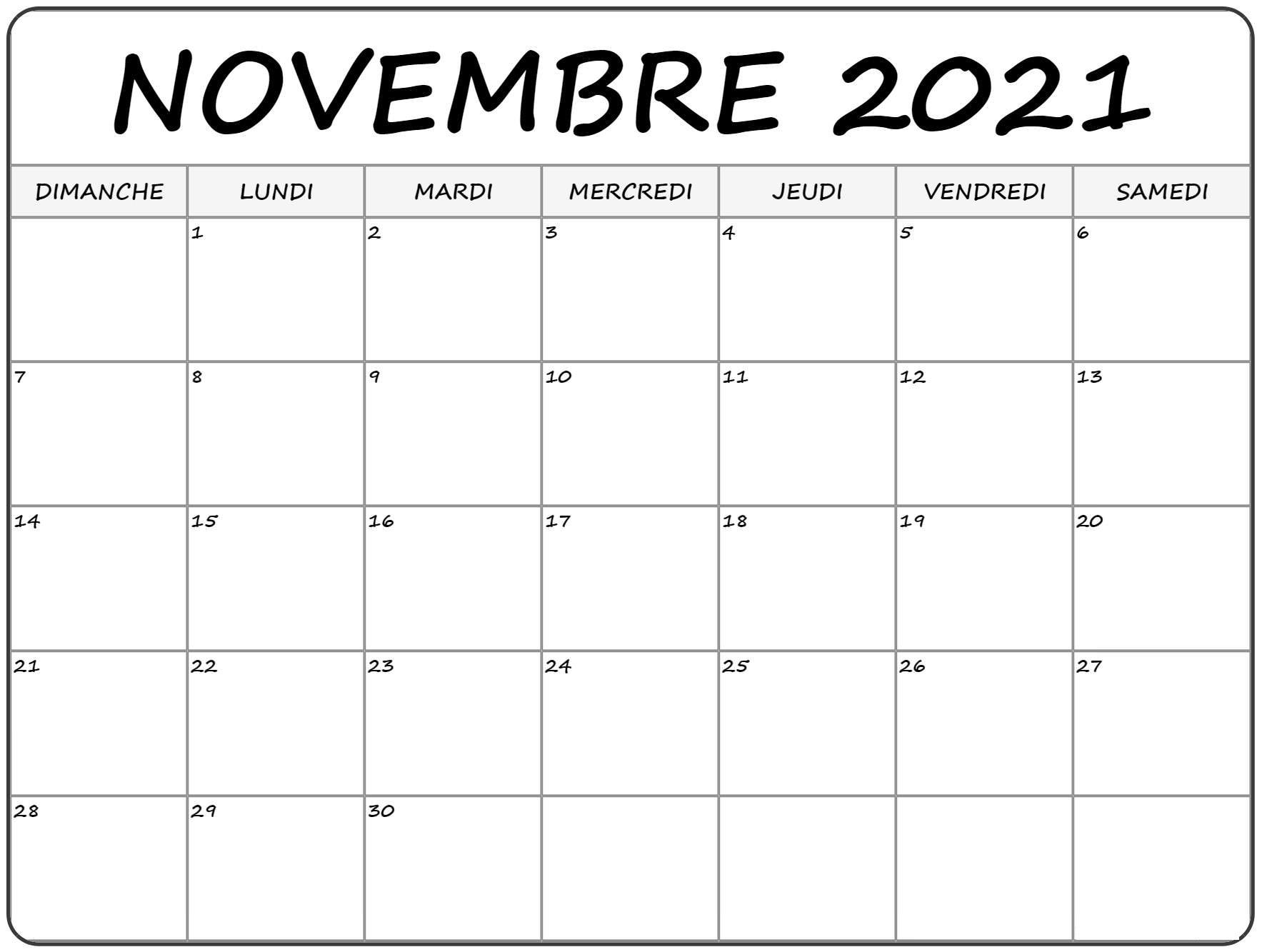 Calendrier Mois de Novembre 2021