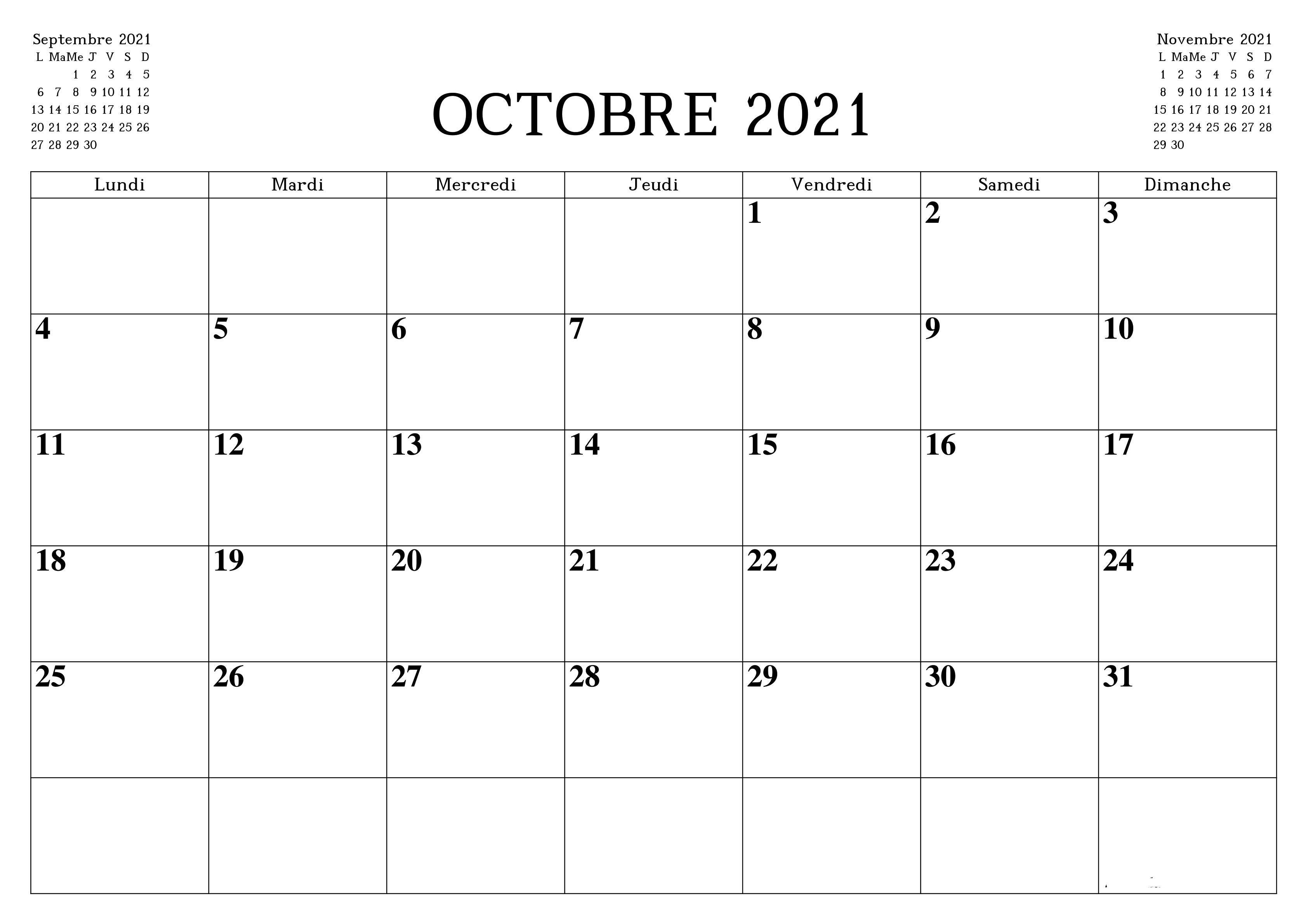 Calendrier Mois de Octobre 2021