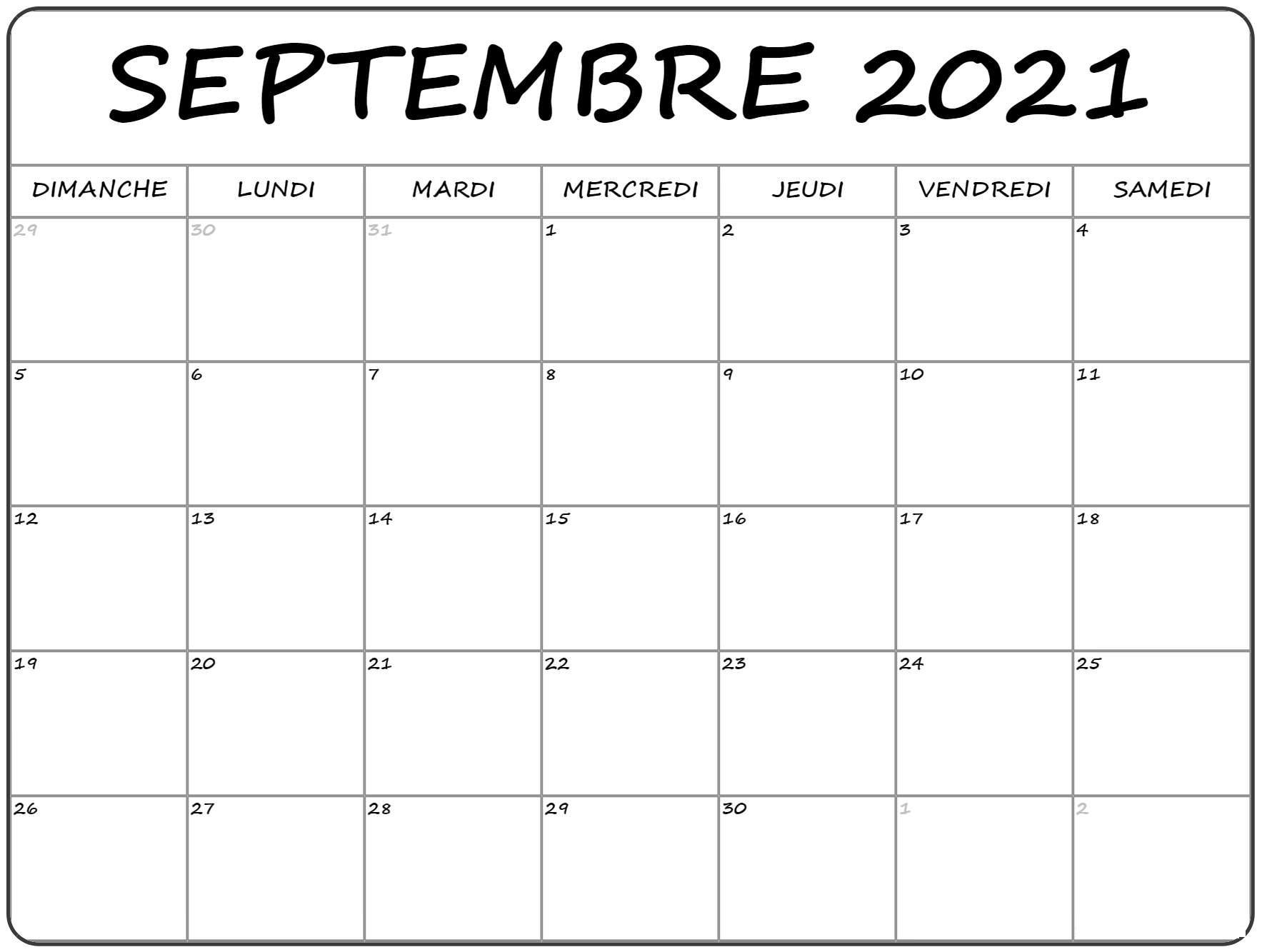 Calendrier Mois de Septembre 2021