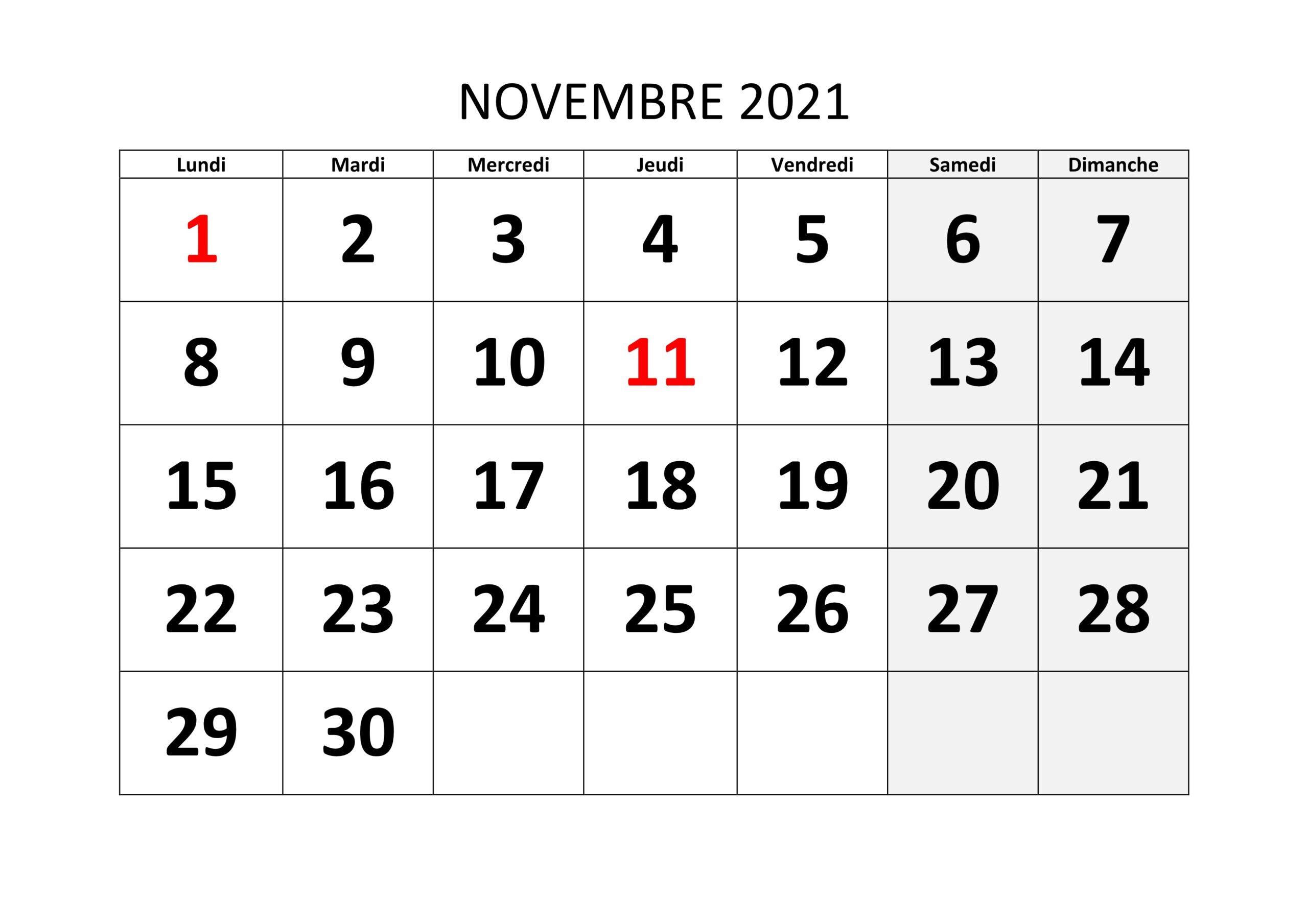 Calendrier Novembre 2021 Excel