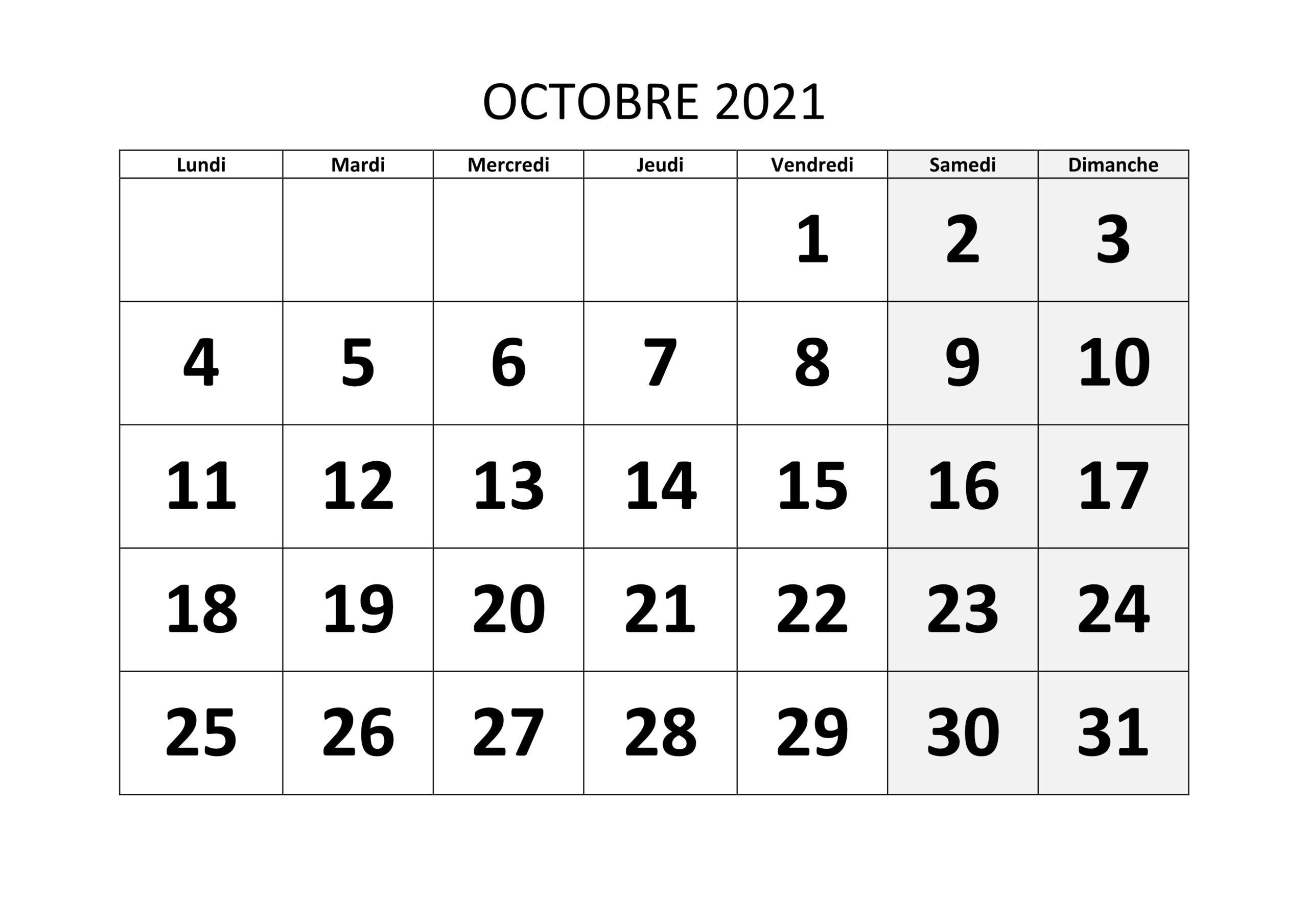 Calendrier Octobre 2021 Excel