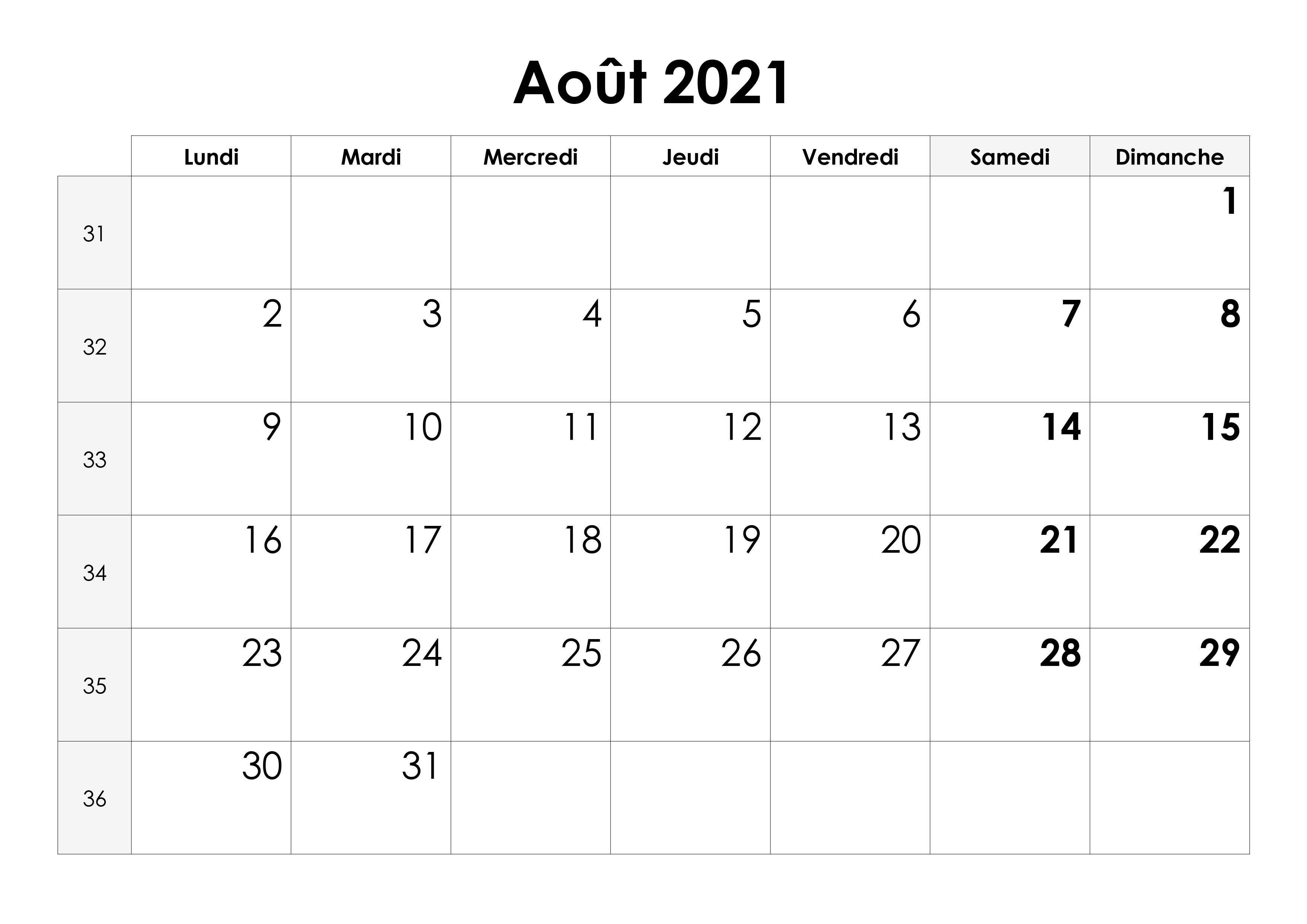 Calendrier de Août 2021