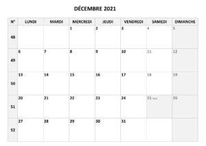 Calendrier de Décembre 2021