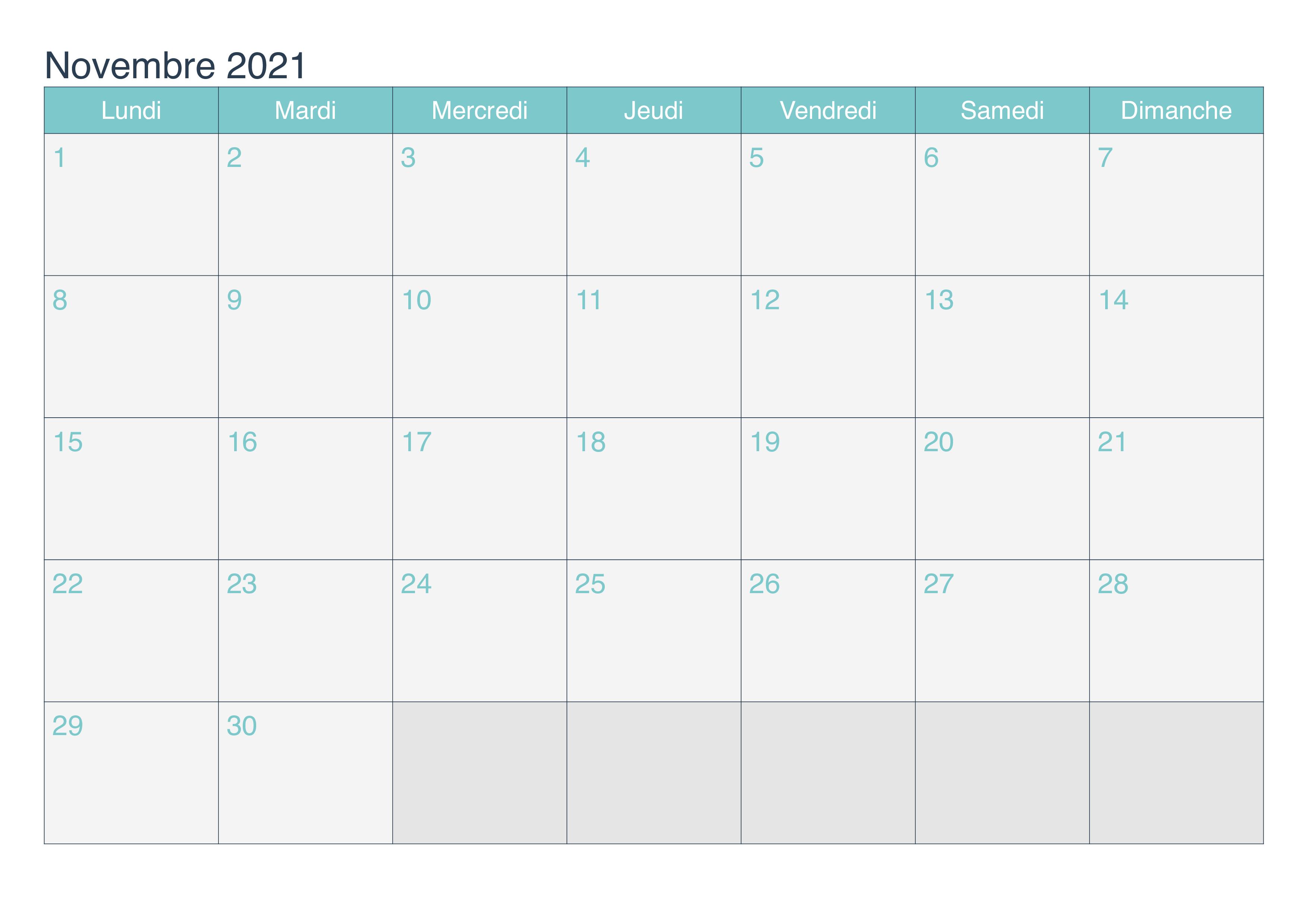 Calendrier de Novembre 2021