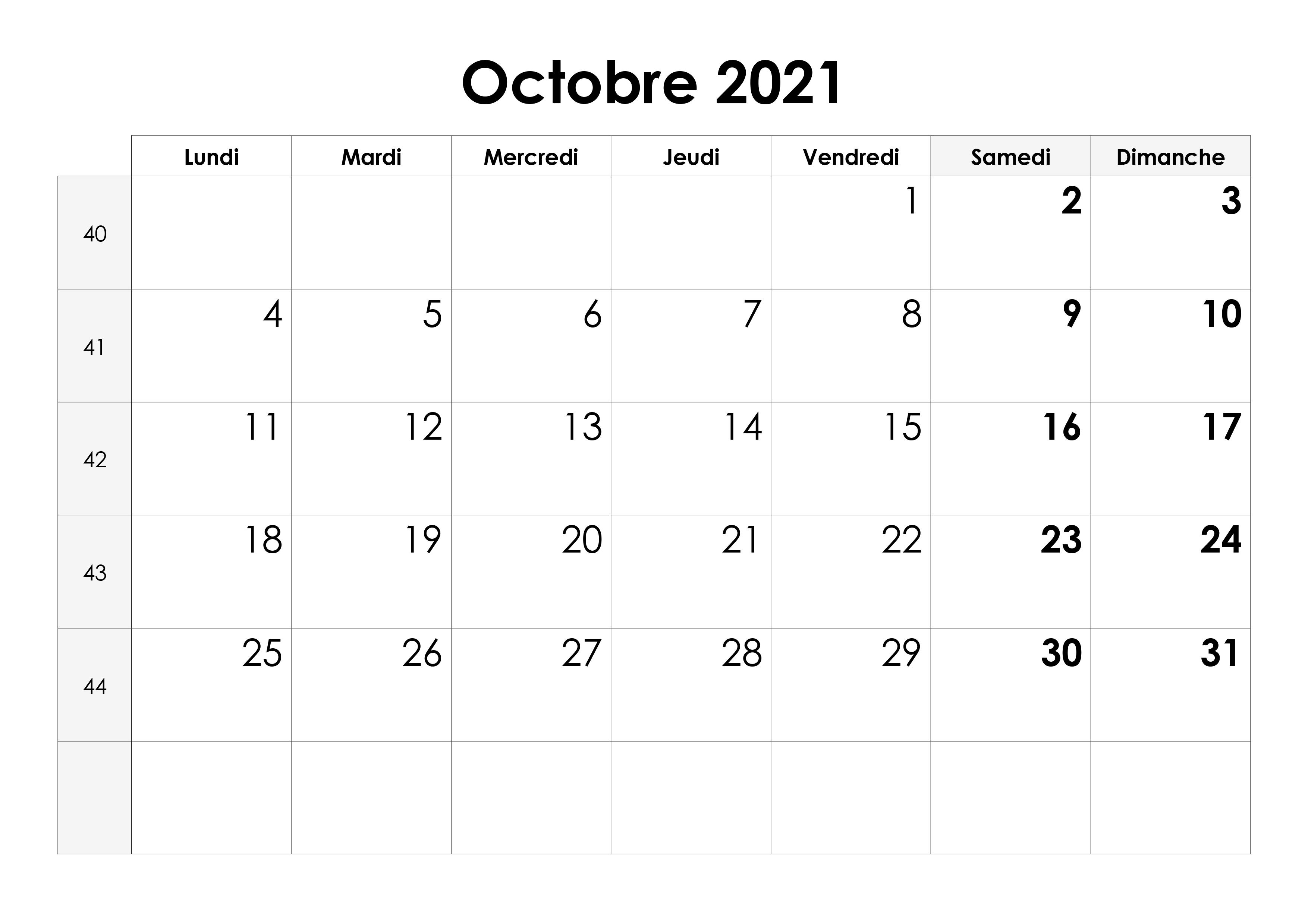 Calendrier de Octobre 2021