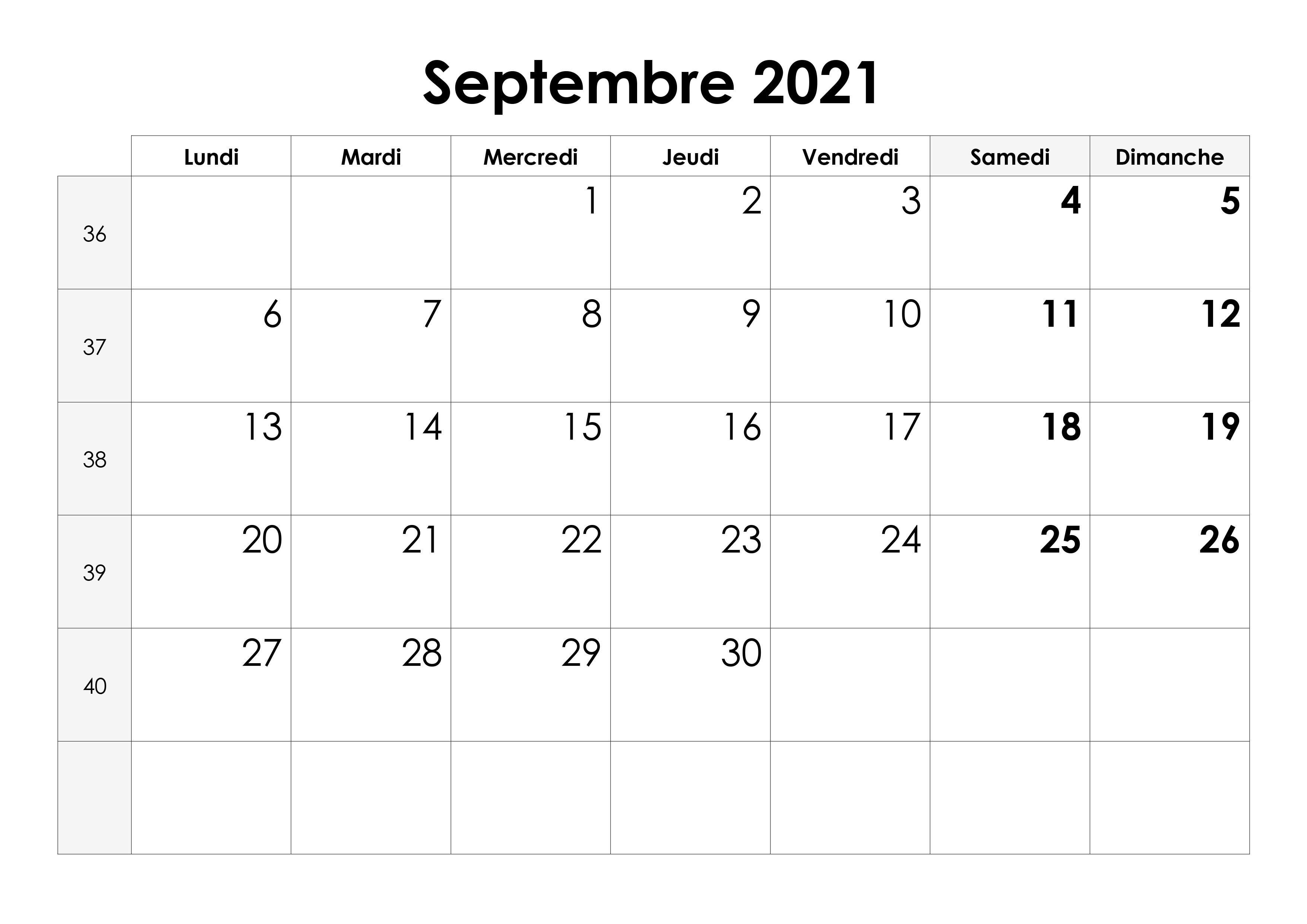 Calendrier de Septembre 2021