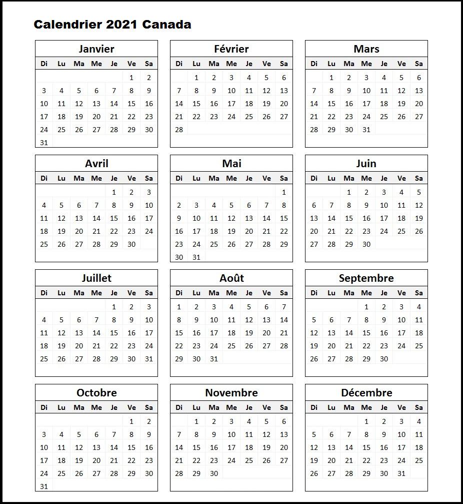 2021 Calendrier Canada