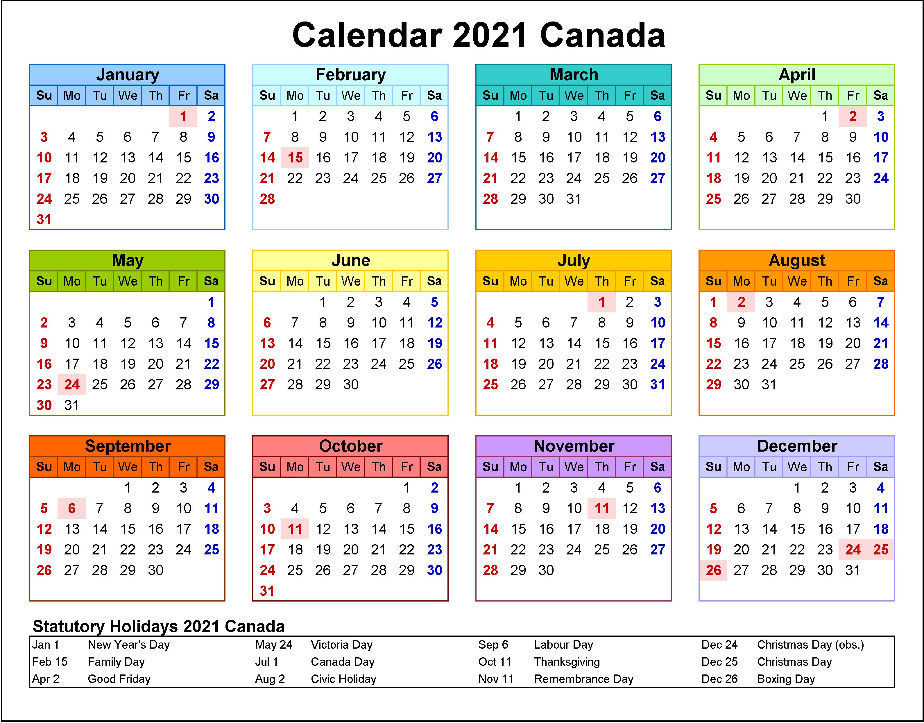 2021 Calendrier Fonction Publique Canada