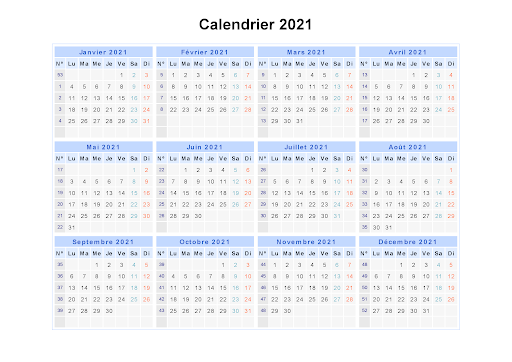 2021 Calendrier Tunisie Pdf