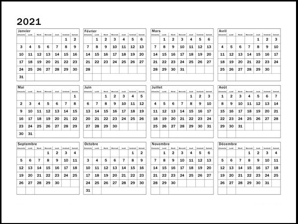 Calendrier 2021 Excel Modifiable Gratuit
