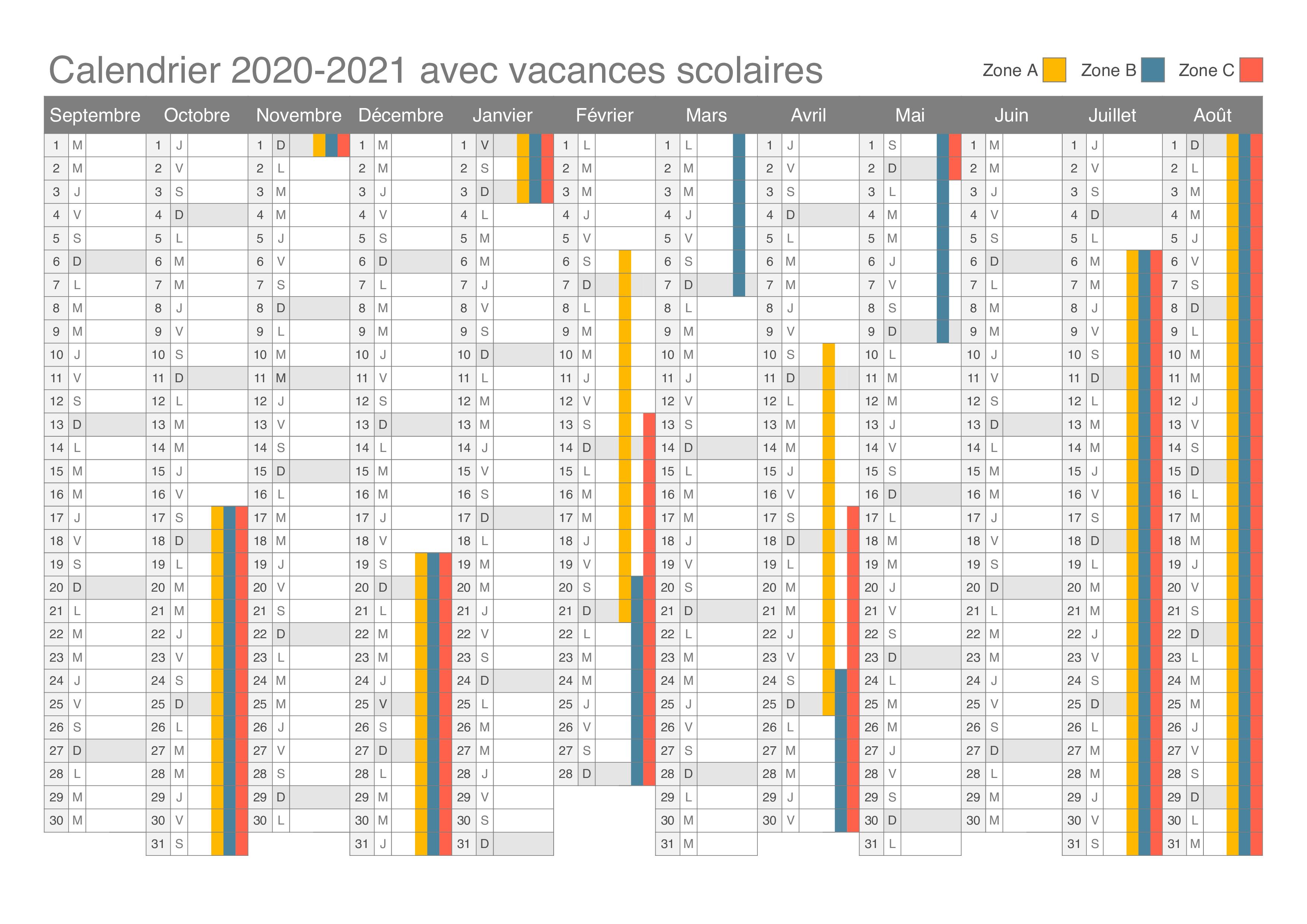 Calendrier 2021 Vacances Scolaires