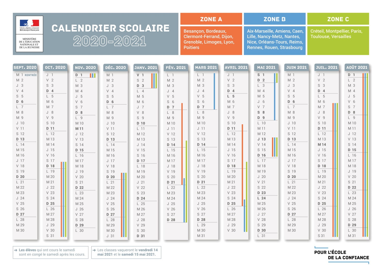 Calendrier 2021 Vacances