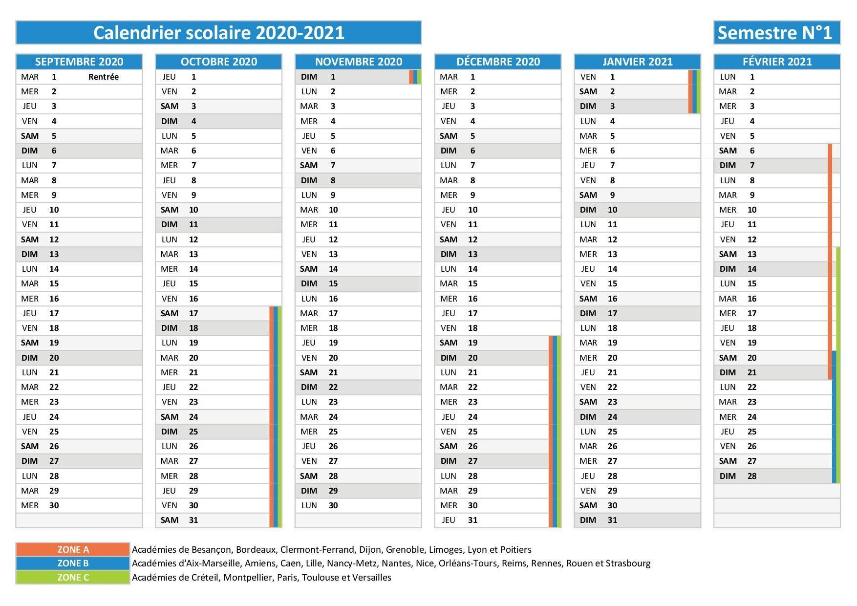 Calendrier Scolaire 2021 en Besancon