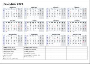 Calendrier Semaine 2021 Paire