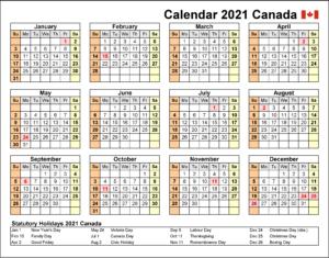 Canadien 2021 Calendrier
