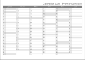 Imprimable 2021 Calendrier