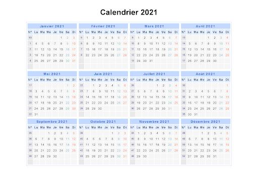 Maroc 2021 Calendrier en Arabe