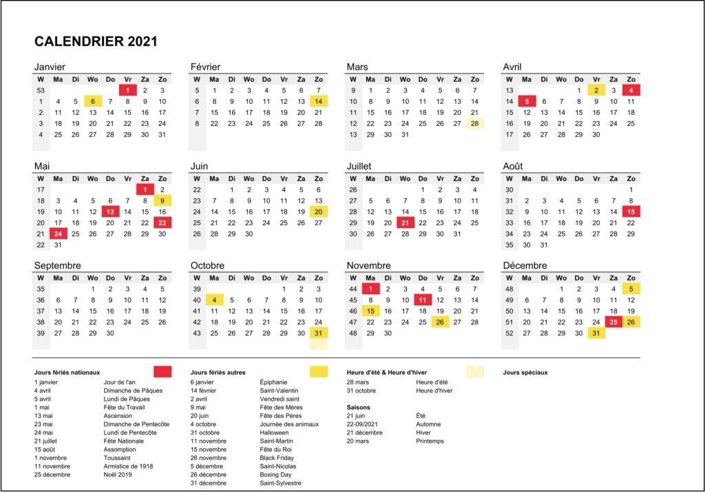 2021 Vacances Calendrier Scolaires Belgique