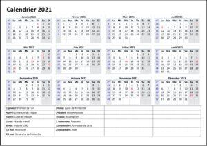 Calendrier 2021 Avec Semaine PDF