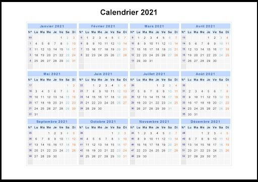 Calendrier 2021 Avec Semaine Word