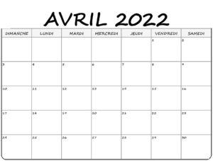 Calendrier 2022 Avril