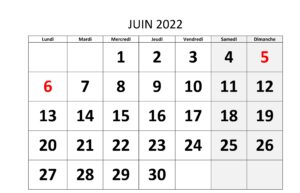 Calendrier 2022 Juin
