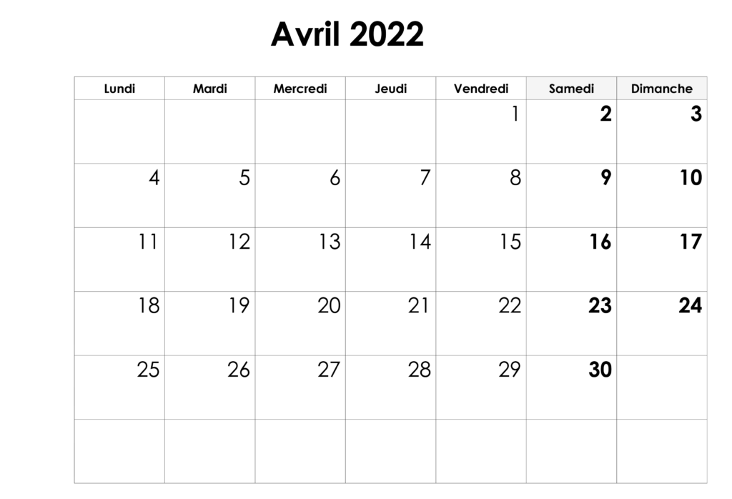 Calendrier Avril 2022 Excel